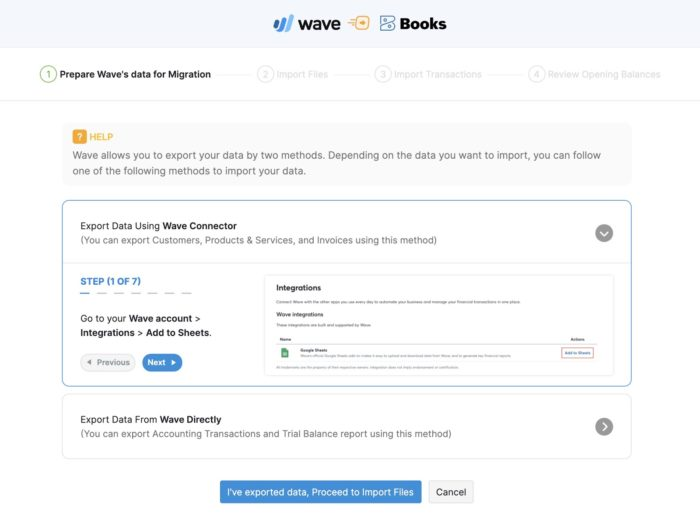 Migrate from Waveapps to Zoho Books-Brampton